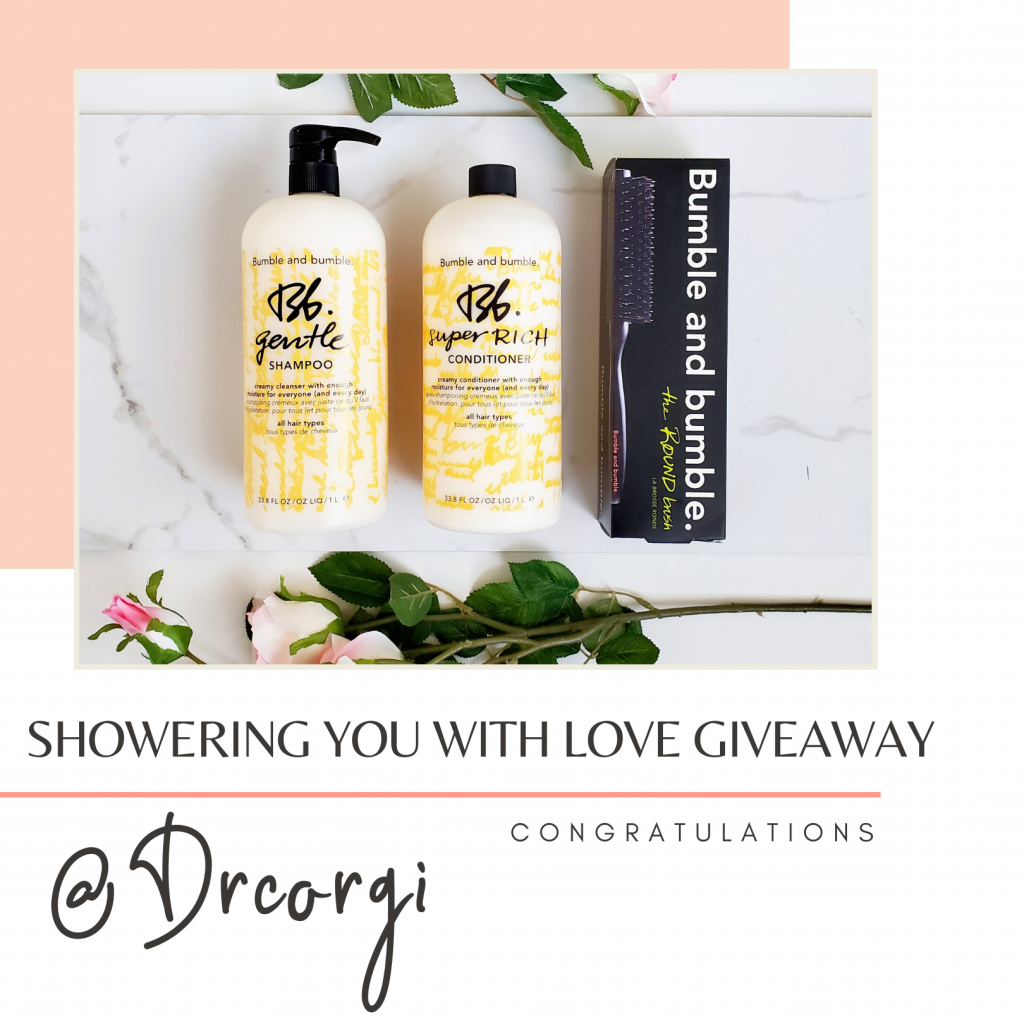 Showering you with love giveaway winner @drcorgi