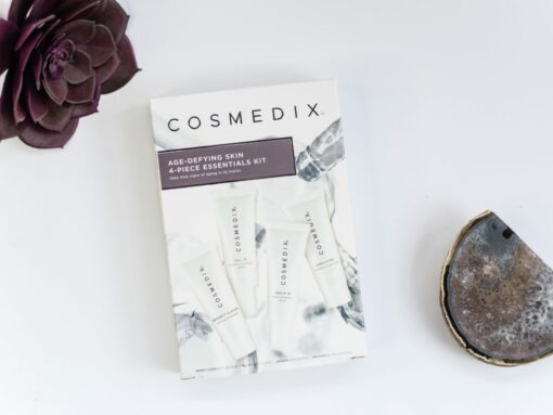 Cosmedix Skincare Age Defying Skin 4 Piece Essentials Kit with Benefit Clean cleanser, Cell ID resorative serum, Serum 16 retinol serum, and Emulsion shea butter moisturizer