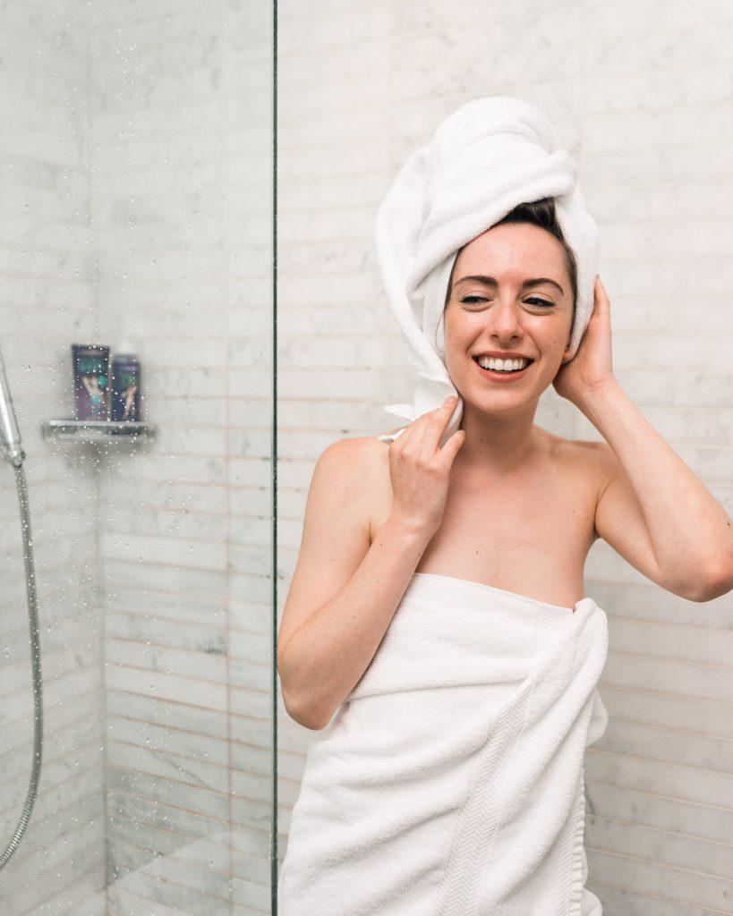Woman enjoying spa day at home