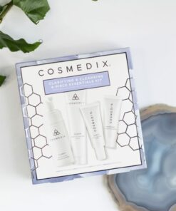 Cosmedix Skincare Clarifying and Cleansing Kit with Clarify cleanser, Clarity clarifying serum, Clear cleansing mask, and Shineless oil-free moisturizer