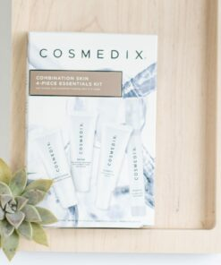 Cosmedix Skincare Combination Skin 4-Piece Essentials Kit with Purity Clean cleanser, Define resurfacing cream, Clarity blemish serum, and Mystic hydration mist