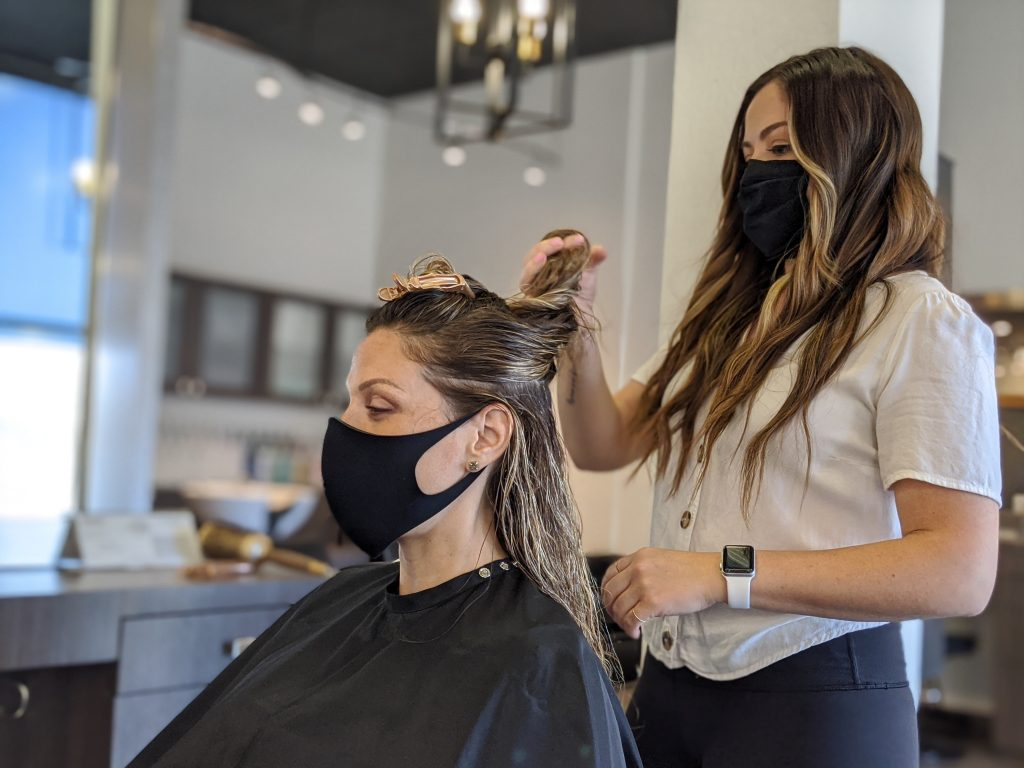 Jessica at Changes Hair Salon in Downtown Walnut Creek re-open and styling hair again